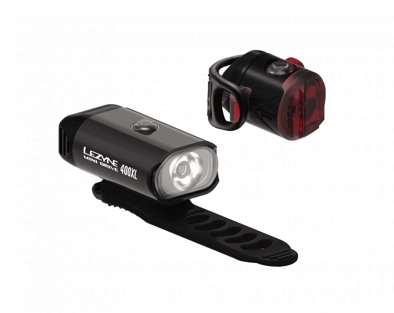 LEZYNE Set svetiel MINI Drive 400XL a Femto USB čierne, 400 Lumenov
