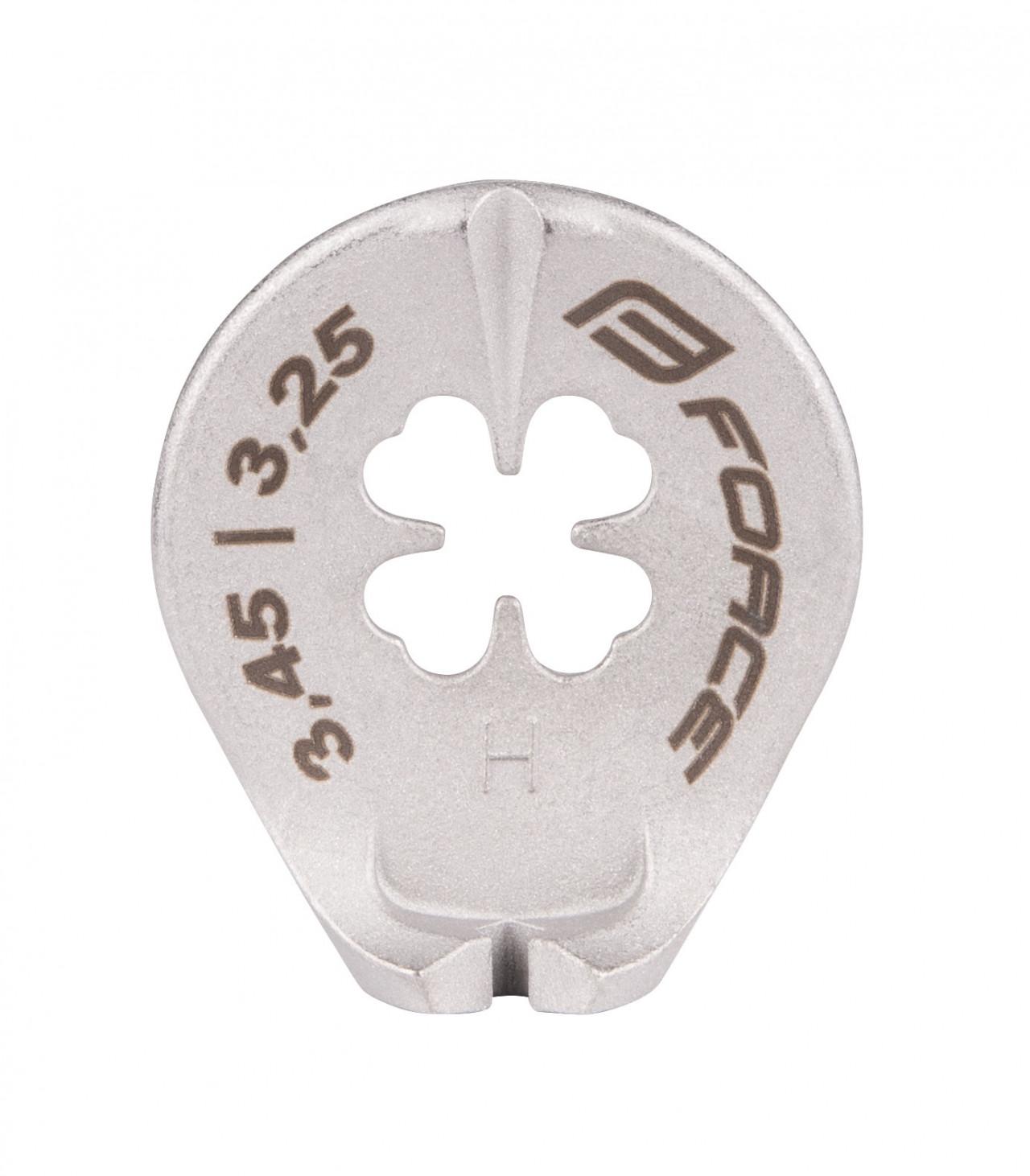 FORCE centrovací kľúč, nerez, na niple 3,25 a 3,45 mm