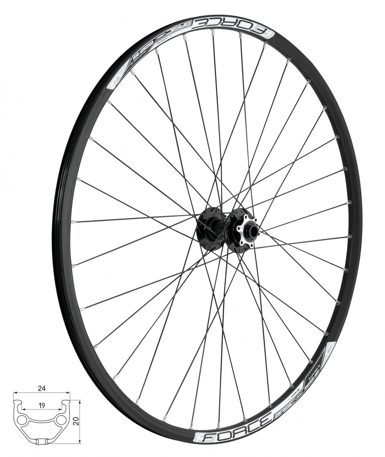FORCE koleso predné BASIC DISC 622x19, F804505, 6d / 15, 32d