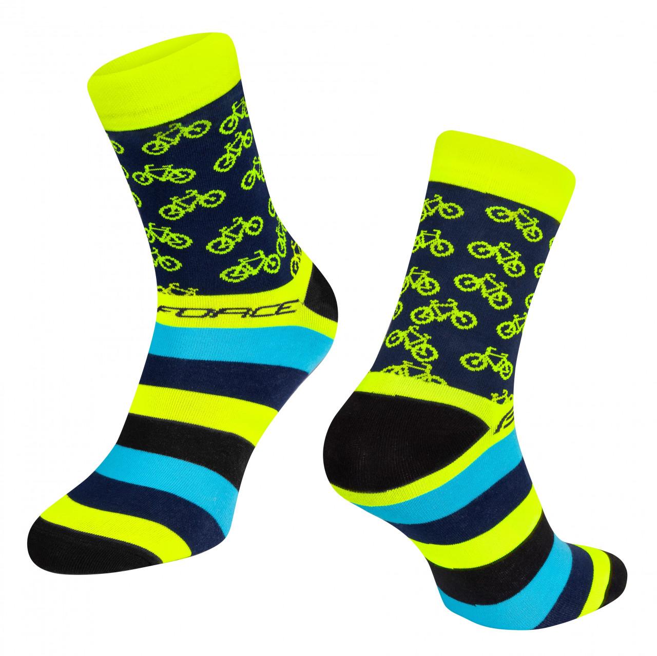 FORCE ponožky CYCLE, žlté S-M/36-41