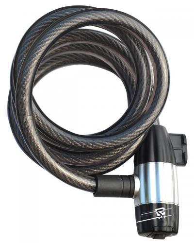 Zámok Rock Machine RM Lock Spiral 180x1,2 cm čierny