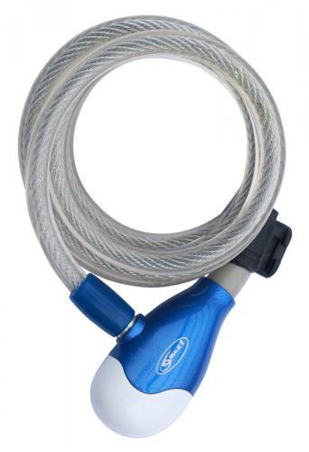Zámok MAX1 špirála 180x1 cm bielo-modrý 10mm x 180cm, 4 kľúče