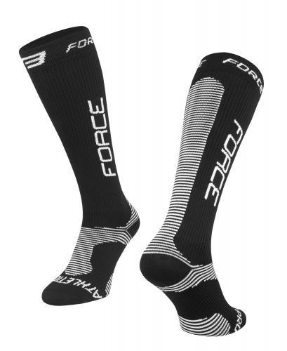 FORCE Ponožky ATHLETIC PRO KOMPRES čierno-biele XS / 30-35