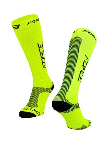 Force Ponožky ATHLETIC PRO KOMPRES, fluo-čierne XXL / 48-49