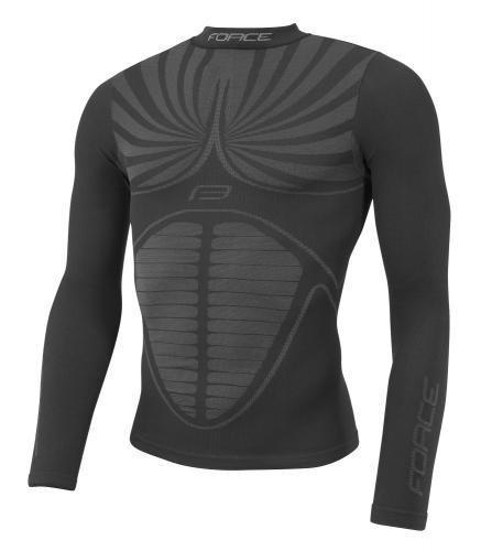 FORCE tričko funkčné THUNDER, dlhý rukáv, čierne Veľkosť : S - M