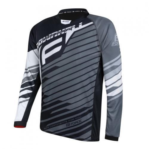 FORCE dres DOWNHILL, dlhý rukáv, čierno-bielo-sivý XL