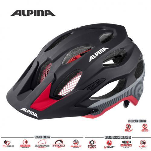 ALPINA Cyklistická prilba Carapax čierno-červeno-tmavostrieborná Veľkosť : M, black-red-darksilver