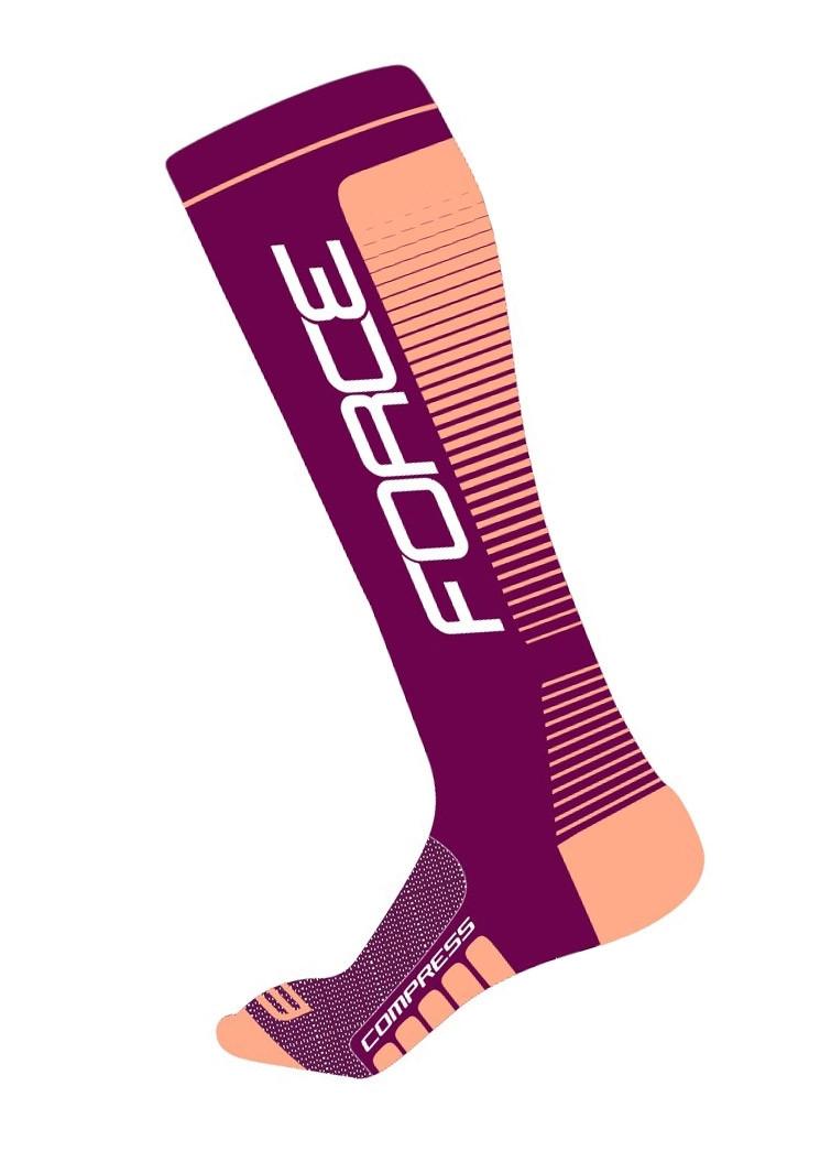 FORCE ponožky COMPRESS, fialovo-broskyňové S-M/36-41