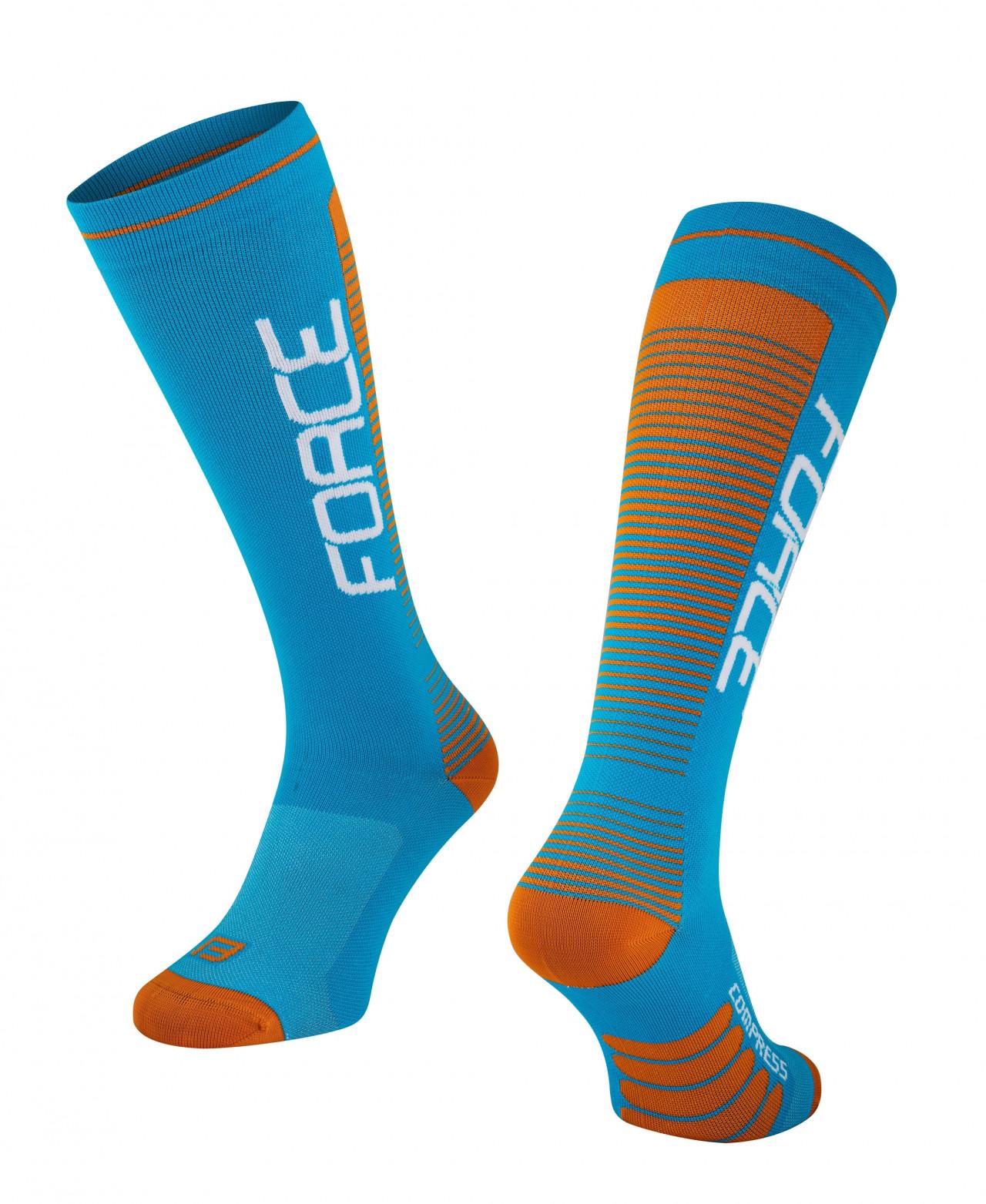 FORCE ponožky COMPRESS, modro-oranžové S-M/36-41