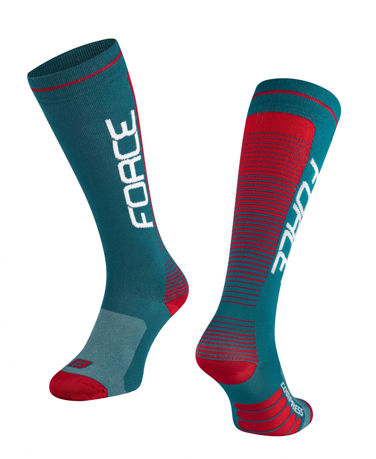 FORCE ponožky COMPRESS, petrolejovo-červené S-M/36-41