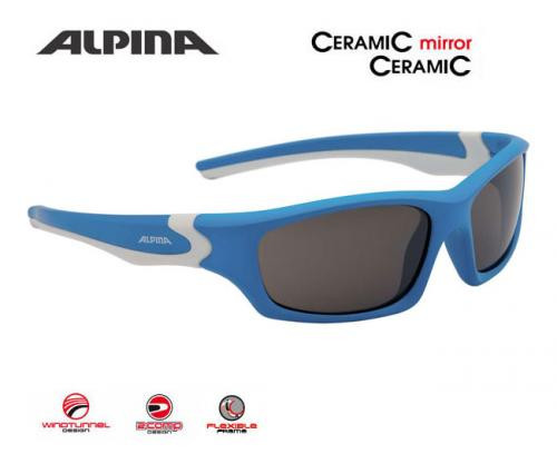 ALPINA Detské okuliare FLEXXY TEEN  cyan-biele, sklá: čierna mirror S3