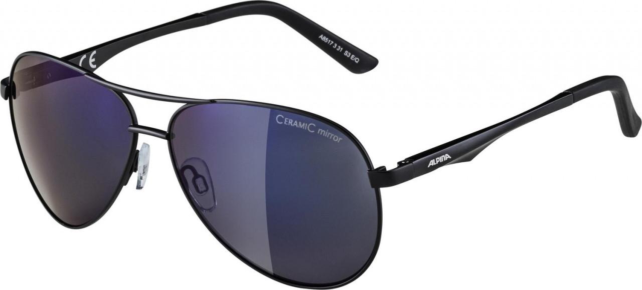 ALPINA Okuliare A 107 čierne matné, sklá: modré zrkadlové