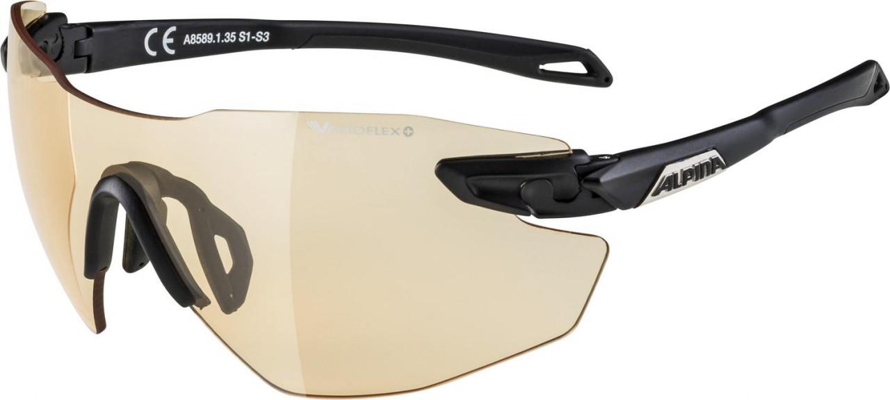 ALPINA Cyklistické okuliare TWIST FIVE SHIELD RL VL+ čierne matné, sklá oranžové
