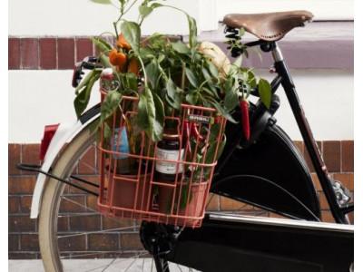BASIL Košík na bicykel Milk Bottle  - farba salmon orange, oceľový